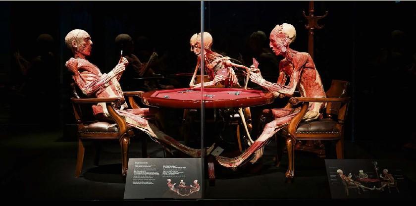 ?? Foto: Andrea Zahler ?? Pokerrunde mit drei Leichen: Präparate in der Ausstellung «Körperwelten».
