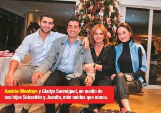 ??  ?? Andrés Montoya y Gladys Sanmiguel, en medio de sus hijos Sebastián y Juanita, más unidos que nunca.