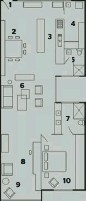 ??  ?? 1. Entry 2. Dining area 3. Kitchen 4. Laundry 5. Bathroom 6. Living area 7. Ensuite 8. Study nook 9. TV area 10. Master bedroom