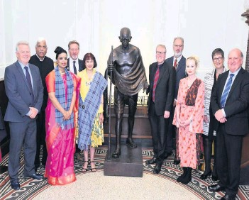 ??  ?? Celebration Gandhi statue unveiled at Ayr Town Hall on Saturday