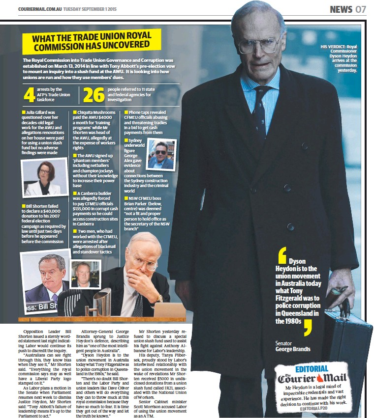 ??  ?? HIS VERDICT: Royal Commissioner Dyson Heydon arrives at the commissionyesterday.