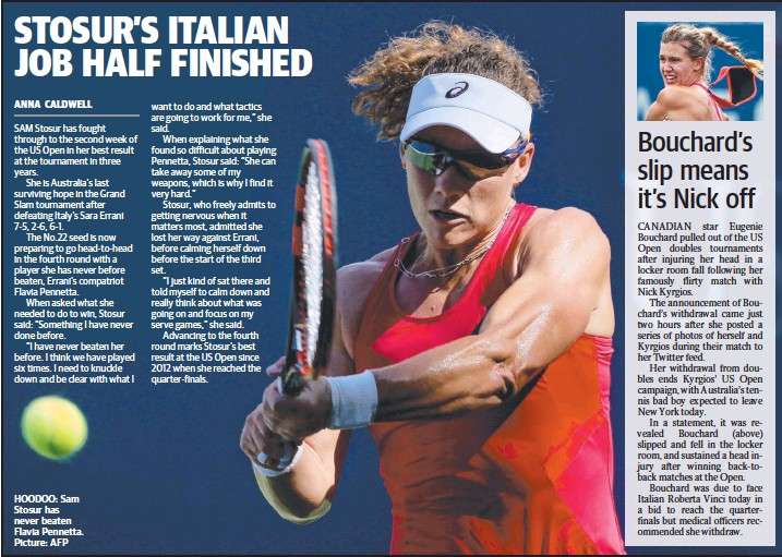 ??  ?? HOODOO: Sam Stosur has never beaten Flavia Pennetta. Picture: AFP