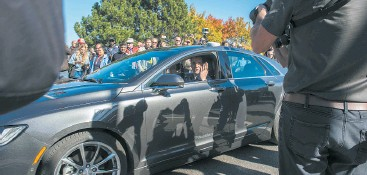 ?? SUPPLIED ?? Powered by Blackberry QNX technology, the self- driving car went for a spin around Kanata Tech Park.