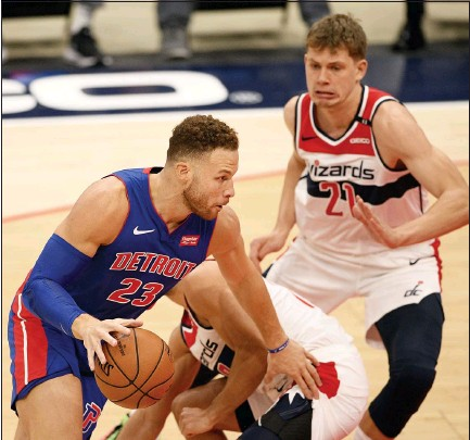 ?? NICK WASS — THE ASSOCIATED PRESS ?? Detroit Pistons forward Blake Griffin is pictured in action next to Washington Wizards center Moritz Wagner during the first half of a Dec. 17 preseason game in Washington.