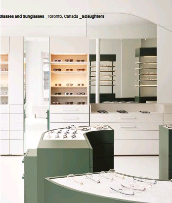 ??  ?? ABOVE: Taking cues from the shop's wares, softly curved displays showcase Frankly's artful eyewear. Behind them, bespoke full-height systems boast illuminated shelving and integrated storage.