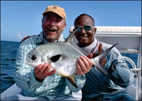 ??  ?? LEFT: Nelson Mathews and guide Scully Garbutt show off Mathews's second permit of the trip.