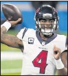 ?? THE ASSOCIATED PRESS ?? Texans quarterback Deshaun Watson needed just 17 completions to total 318 yards and four touchdowns against the Lions' defense.