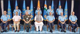 ?? PIC/PTI ?? Union Minister for Defence Rajnath Singh and Chief of Defence Staff General Bipin Rawat with Chief of the Air Staff, Air Chief Marshal R.K.S. Bhadauria with other the senior officials at the Air Force Commanders' Conference in New Delhi on Thursday