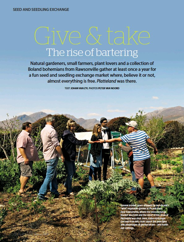 """??  ?? Several market-goers stopped by Jaco Brand's """"wild"""" vegetable garden at Picardi Place near Rawsonville, where the seed exchange market was held and the cover of this issue of Platteland was shot. Here, Kobus Kritzinger (second from left) chats about..."""
