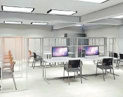 ?? FOTO: EL HERALDO ?? Las aulas y labouatouios de la UTH han sido acondicionados paua gauantizau la bioseguuidad de alumnos y docentes.