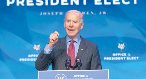 ?? CHIPSOMODEVILLA/GETTY ?? President-elect Joe Biden faces an evenly divided Senate and a narrow Democratic majority in the House, which means major legislation probably will not advance without some Republican support.