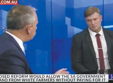 ??  ?? Blair Cottrell (right) is interviewed by Adam Giles on the Sky News channel this week.