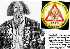 ??  ?? Big shoes to fill: Coco the Clown gives a road safety talk at a junior school. Inset: The Coco badge