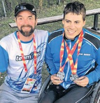??  ?? Coach Ueli Albert poses with Ben Brown at the 2017 Canada Summer Games.