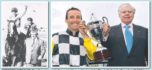 ??  ?? NORTH­ERN EX­PO­SURE: Bart Cum­mings with Cam­paign King and jockey John Mar­shall af­ter the Doomben 10,000 in 1988 (left); with cham­pion jockey Damien Oliver af­ter win­ning the Bris­bane Cup with Viewed in 2008; and (be­low) Chris Munce guides home Dane Rip­per...