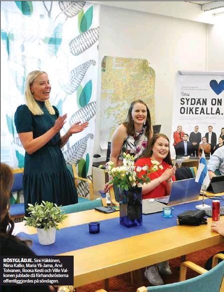 ??  ?? RÖSTGLÄDJE. Sini Häkkinen, Niina Kallio, Maria Yli-Jama, Arvi Tolvanen, Roosa Kesti och Ville Valkonen jublade då förhandsrösterna offentligg jordes på söndagen.