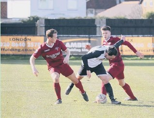 ?? ROGER SMITH ?? Action from Little Common v Pagham - one of the last SCFL games to be played before fixtures were ceased
