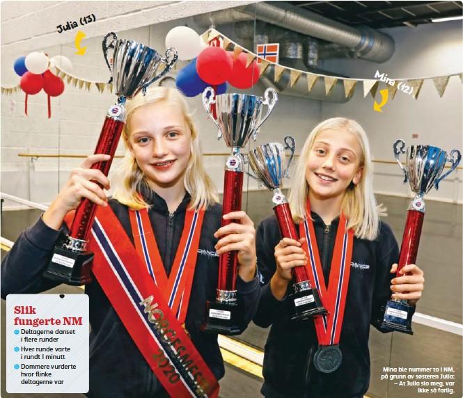 ??  ?? Julia(13) Mina ble nummer to i NM, på grunn av søsteren Julia: – At Julia slo meg, var ikke så farlig.
