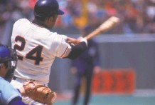 ?? Focus on Sport via Getty Images ?? Mays swings during a game circa the 1970s at Candlestick Park, where many great hitters began to feel a bit unwell.