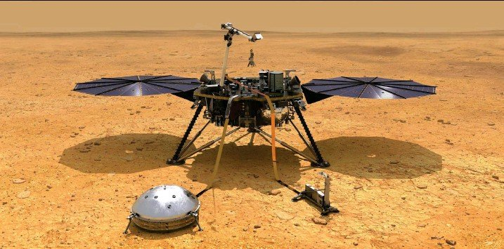 ?? Illustration: Nasa/JPL-Caltech ?? Das Landemodul Insight der Nasa ist auf dem Mars mit Messgeräten im Einsatz. Das kuppelförmige Gerät im Vordergrund ist der Erdbebensensor Seis.
