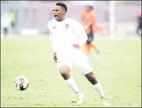 ?? PICTURE: BACKPAGEPIX ?? A fired up Mhlengi Cele of Thanda Royal Zulu FC during the National First Division 2016/17 game between Real Kings and Thanda Royal Zulu at Suger Ray Xulu Stadium in Clermont, Durban, yesterday.