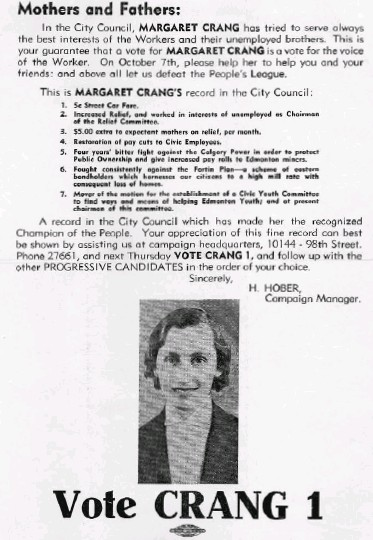 ?? PROVINCIAL ARCHIVES OF ALBERTA: PAA- 68.125.449.2 ?? Margaret Crang was twice elected to city council. This pamphlet comes from her first campaign.