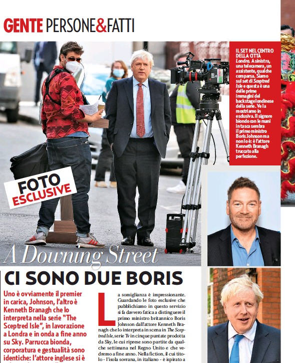 ??  ?? IL SET NEL CENTRO DELLA CITTÀ Londra. A sinistra, una telecamera, un assistente, qualche comparsa. Siamo sul set di Sceptred Isle e questa è una delle prime immagini del backstage londinese della serie. Ve la mostriamo in esclusiva. Il signore biondo con le mani in tasca sembra il primo ministro Boris Johnson ma non lo è: è l'attore Kenneth Branagh truccato alla perfezione. PRIMA DELLA TRASFORMAZIONE In alto, l'attore Kenneth Branagh, 60 anni, e sotto il primo ministro Boris Johnson, 56. Per impersonare il premier, il divo ha dovuto affrontare un cambiamento radicale.