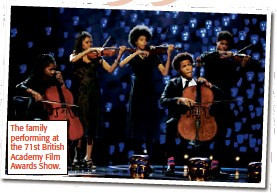 ??  ?? The family performing at the 71st British Academy Film Awards Show.