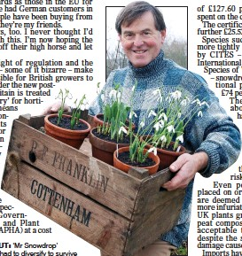 ??  ?? BRANCHING OUT: 'Mr Snowdrop' Joe Sharman has had to diversify to survive