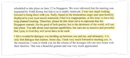 ??  ?? EXCERPT OF PRESIDENT TRUMP'S LETTER: Above is a portion of Trump's missive Thursday to North Korean leader Kim Jong Un. The Post highlighted a key section; the full letter can be seen on A11.