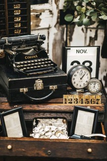 """??  ?? above: PEN A LETTER to your former self from this gorgeous typewriter nook. Shop owner Jordan Vanschepen crafts a """"timely"""" workspace with assorted clocks and used briefcases."""
