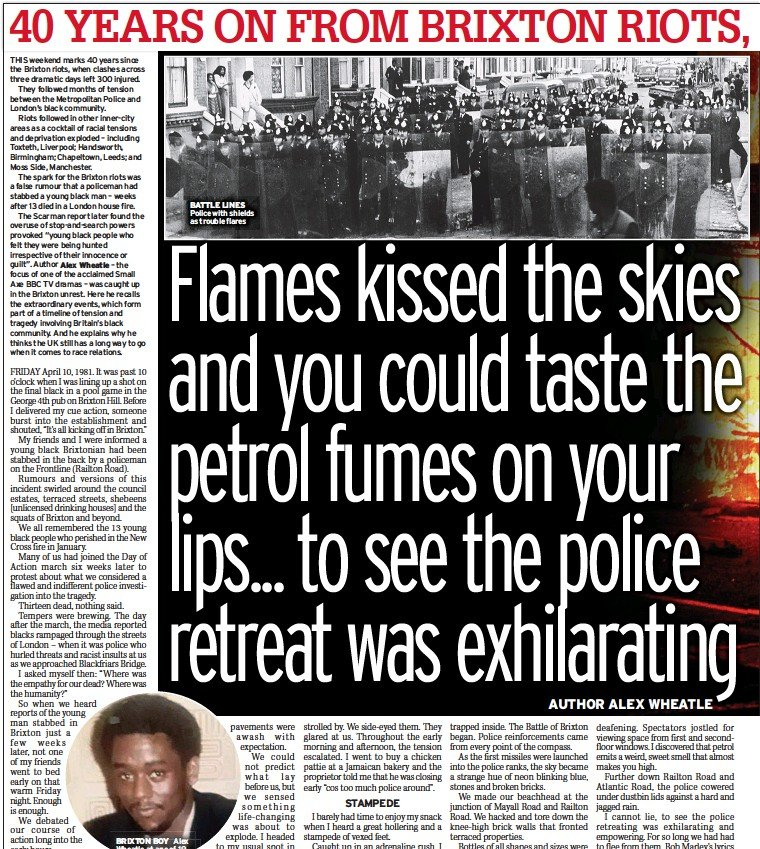 ??  ?? BRIXTON BOY Alex Wheatle at age of 19 BATTLE LINES Police with shields as trouble flares