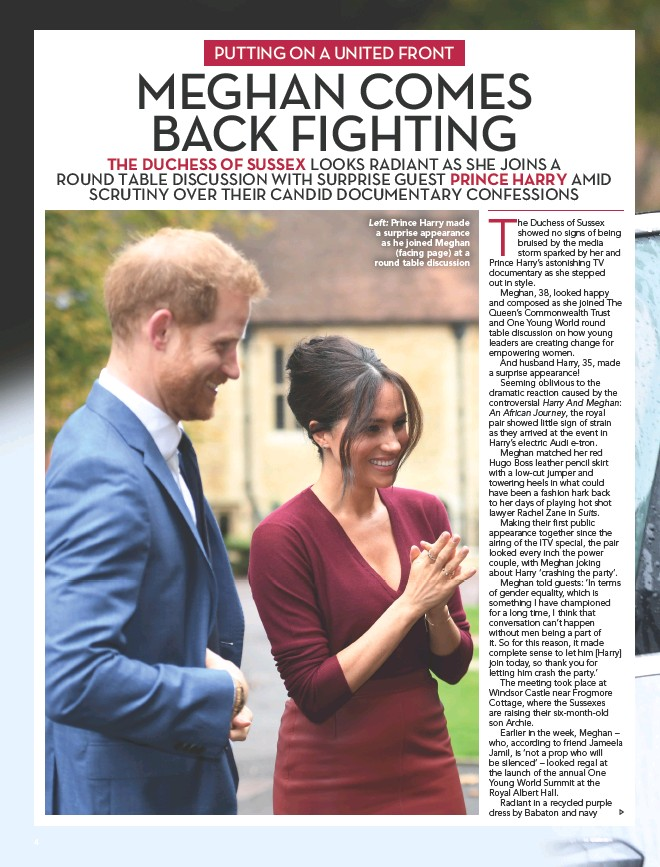 ??  ?? Left: Prince Harry made a surprise appearance as he joined Meghan (facing page) at a round table discussion