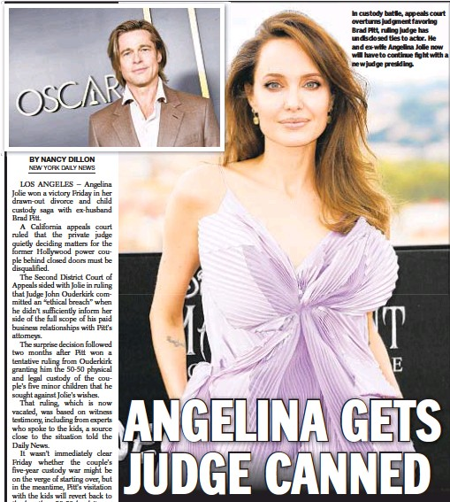??  ?? In custody battle, appeals court overturns judgment favoring Brad Pitt, ruling judge has undisclosed ties to actor. He and ex-wife Angelina Jolie now will have to continue fight with a new judge presiding.