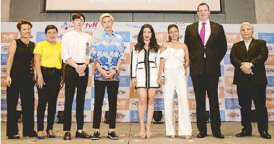 ??  ?? From left: Anne Chan, COO of CJ E&M HK; Charo Lagamon, director for Corporate Communications of Cebu Pacific; Nichkhun, actor and member of K-pop boyband 2PM; Alexander 'Xander' Lee, actor and singer formerly of U-KISS; Ciara Sotto; Danica...