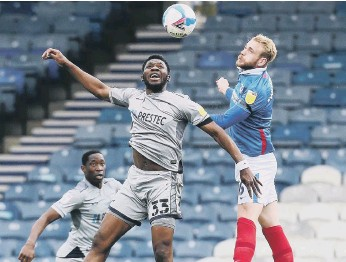 ?? PiCTURE: JOE PEPLER ?? Jack Whatmough wins an aerial challenge in the recent home game with Burton