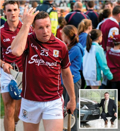 Damien Hayes leaves the pitch in Tullamore following his side's Leinster SHC defeat to Kilkenny in 2014. Inset: Pictured at the new Al Hayes Motors ŠKODA ...