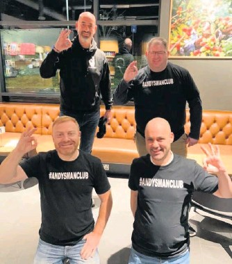 ??  ?? Worthy cause (Back from left) Alex McClintock of Andys Man Club and Gordon Lackie with (front from left) Mark Stuart and Johnny Fraser