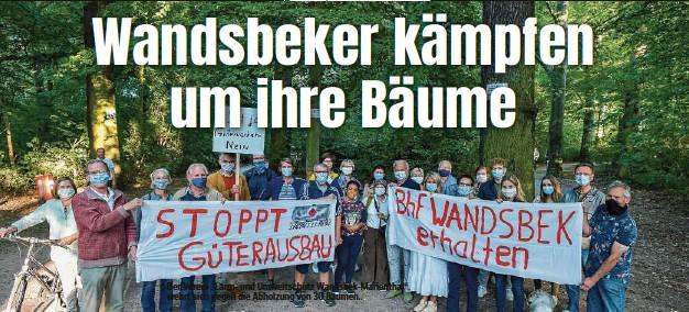 """??  ?? Der Verein """"Lärm- und Umweltschutz Wandsbek-Marienthal""""wehrt sich gegen die Abholzung von 30 Bäumen."""