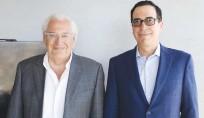 ?? (Marc Israel Sellem/The Jerusalem Post) ?? DAVID FRIEDMAN, (left), former ambassador to Israel, and Steven Mnuchin, former Treasury secretary, in Tel Aviv yesterday.