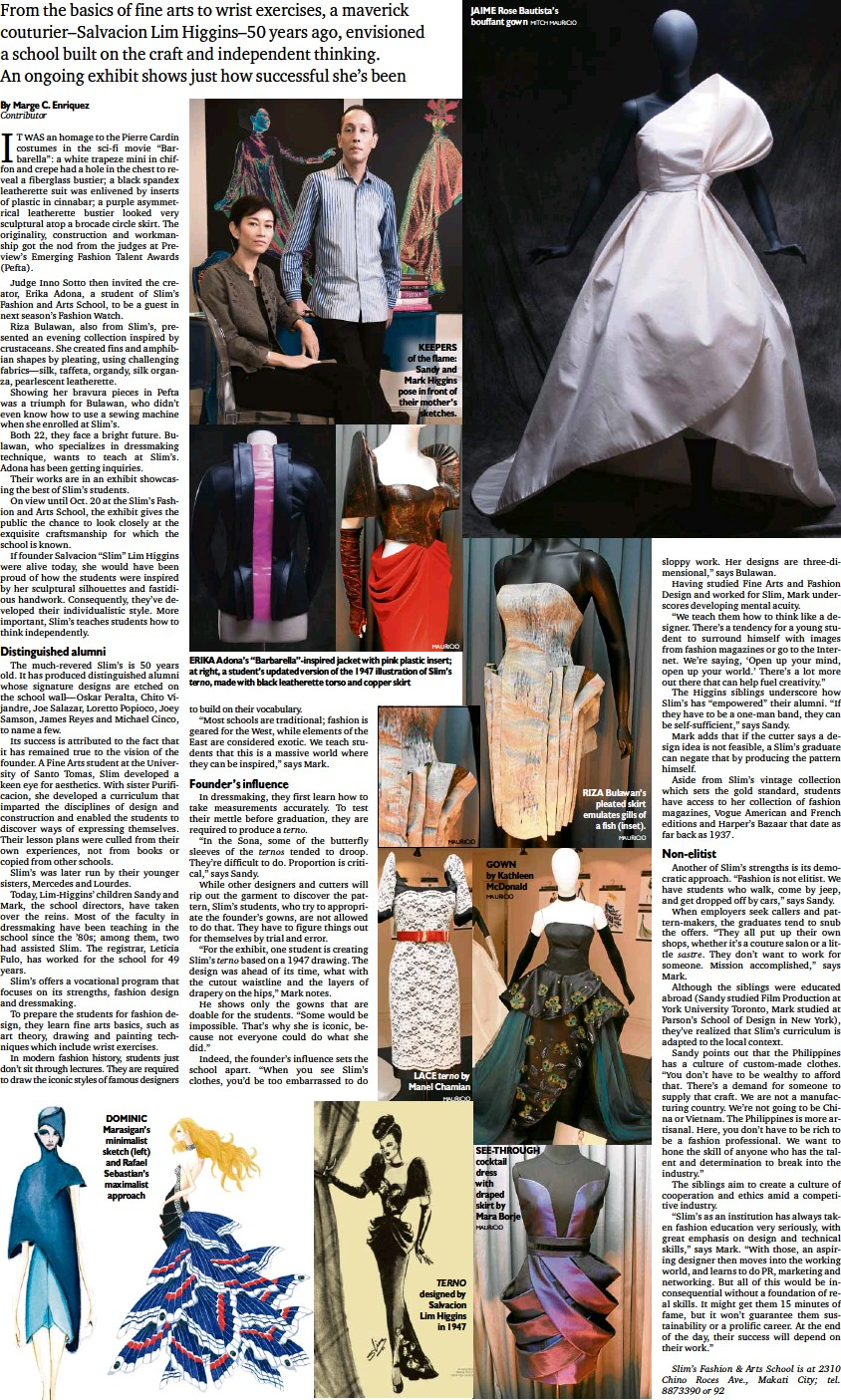 Pressreader Philippine Daily Inquirer 2011 10 14 How Fashion Design Is Taught Young Filipinos