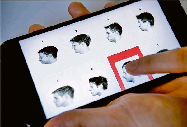 """?? Foto: Sven Hoppe/dpa ?? Ein Online-test zur Erkennung von """"Super-recogniser""""-fähigkeiten."""