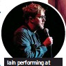 ??  ?? Iain performing at The Birmingham Comedy Gala in 2018
