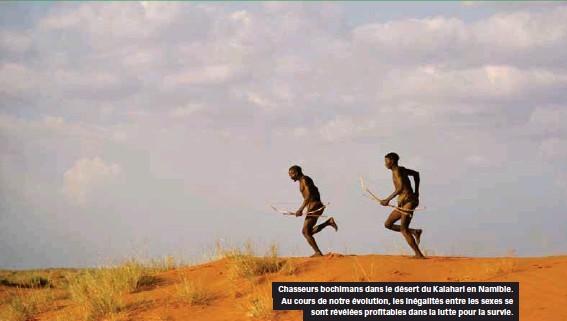 ??  ?? Chasseurs bochimans dans le désert du Kalahari en Namibie. Au cours de notre évolution, les inégalités entre les sexes se sont révélées profitables dans la lutte pour la survie.