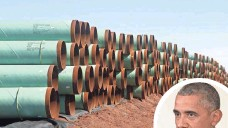 ?? SUE OGROCKI, AP ?? Miles of pipe for the stalled Keystone XL pipeline are stacked in a field near Ripley, Okla., on Feb. 1, 2012. The Obama administration put the project under review for an indefinite period.