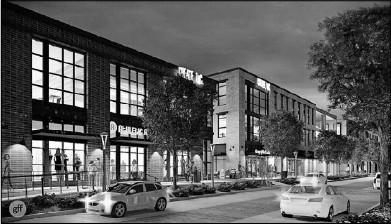 ?? Open Realty Partners ?? Renderings show office buildings along North Henderson Avenue between Glencoe Street and McMillan Avenue in East Dallas.