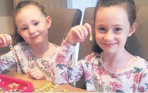 ??  ?? Ebonae-Rose and Summer Meeks, from Crawshawbooth, made 4,000 guardian angels for key workers