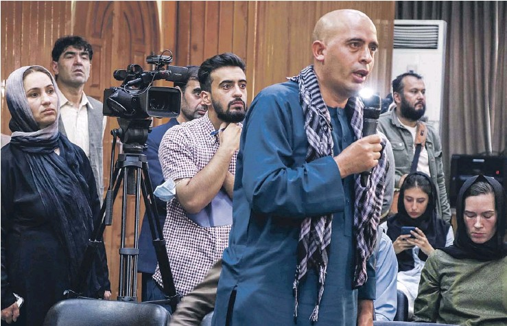 ?? PHOTOGRAPH: EPA ?? ▲ Reporters taking part in a Taliban press conference. There are fears Afghan and international journalists will face a major crackdown