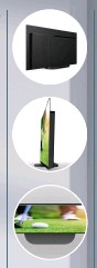 ??  ?? The pedestal stand allows just a 5mm gap between the TV and furniture