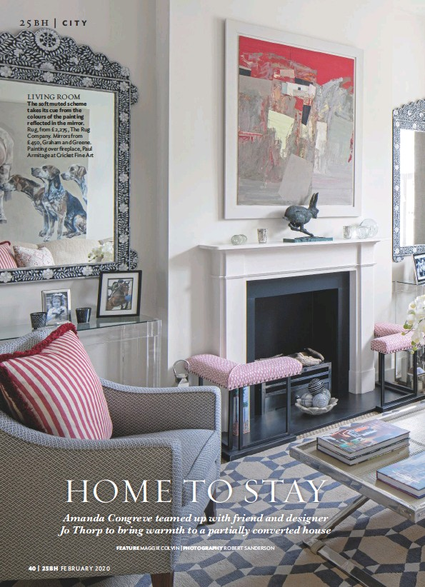 ??  ?? LIVING ROOM The soft muted scheme takes its cue from the colours of the painting reflected in the mirror. Rug, from £2,275, The Rug Company. Mirrors from £450, Graham and Greene. Painting over fireplace, Paul Armitage at Cricket Fine Art